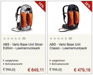 2 top Angebote für ABS-Lawinenrucksäcke (Symbolbild)