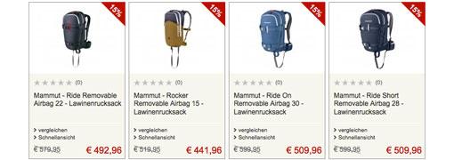 Angebote für Mammut Lawinenrucksäcke bei Bergfreunde (Symbolbild)