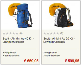 Scott-Lawinenrucksäcke im Angebot bei Bergfreunde (Symbolbild)